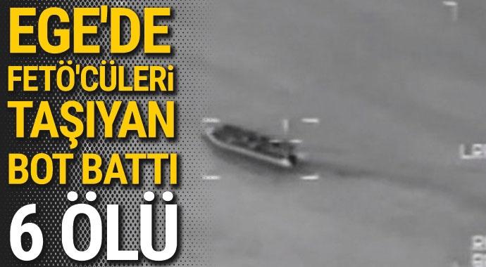 Midilli'ye kaçmak isteyen FETÖ'cüleri taşıyan bot battı