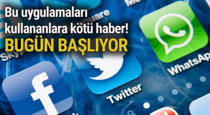 Whatsapp, Twitter, Facebook kullananlara kötü haber!