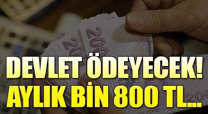 Yüz binlerce kişiye ayda bin 800 TL devlet ödeyecek