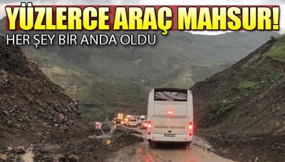 Heyelan Kars-Erzurum karayolunu ulaşıma kapattı