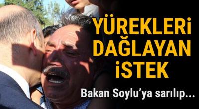 Türkiye şehitlerini uğurluyor! Soylu'ya sarılıp bunu istedi